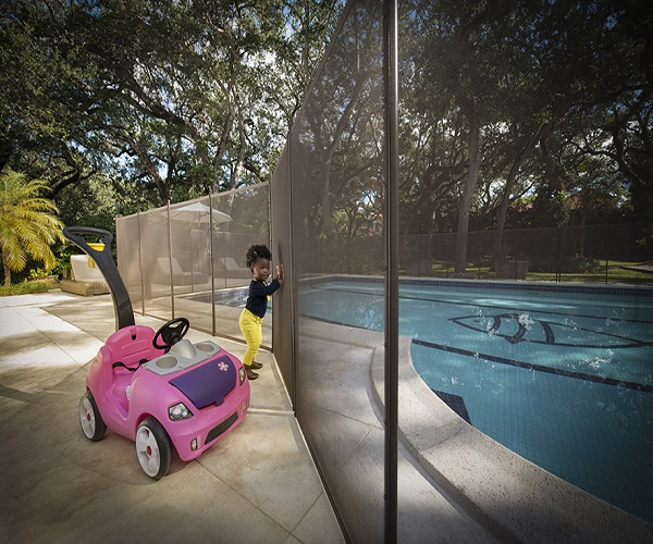brown child pool safety fence
