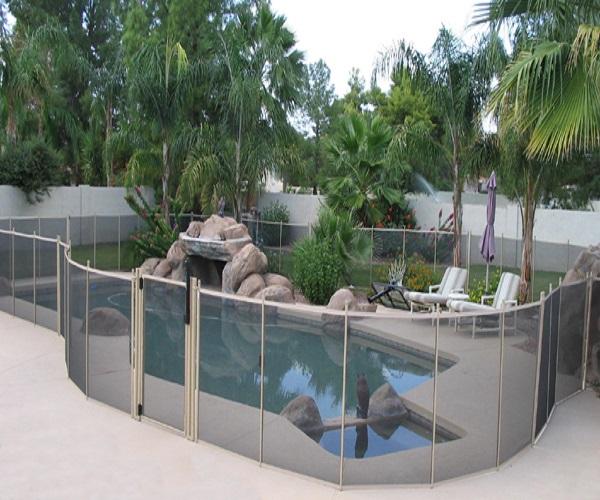 tan mesh pool fence