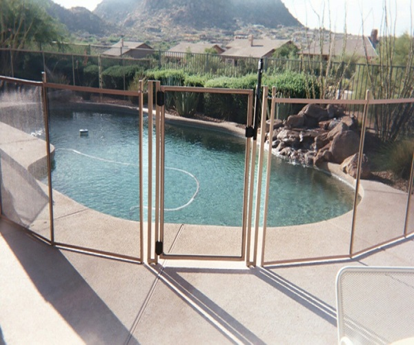 tan pool fence