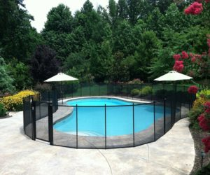 black mesh pool fence