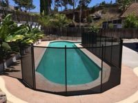 black mesh pool fence installed