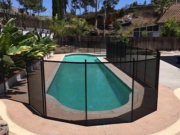 black mesh pool fence installed