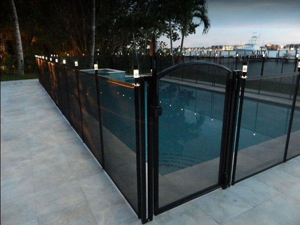 pool fence with solar lights installed in San Diego, CA