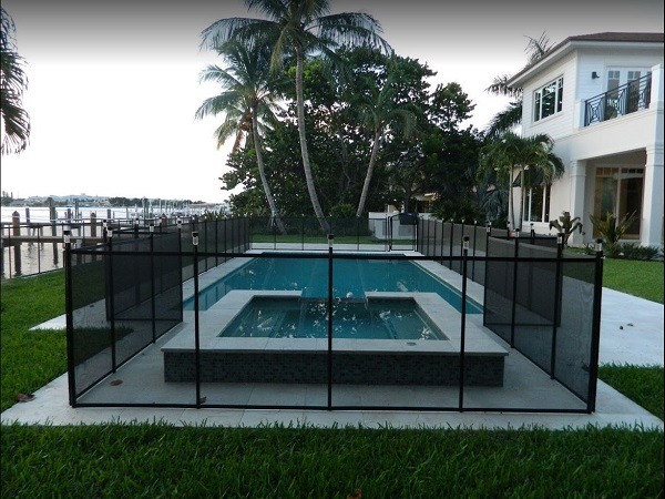 removable mesh pool fence with solar lights